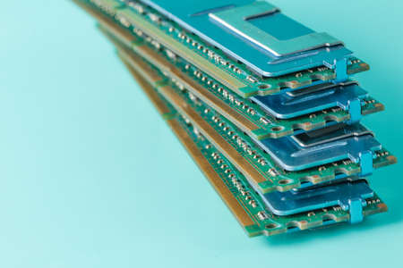 ddr3: Computer memory modules on the aquamarine background