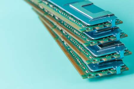 Computer memory modules on the aquamarine background