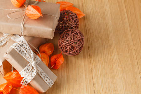wrapped gift: Paper wrapped gift box with fall theme
