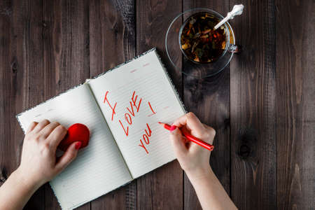 love words: Female write declaration of love in diary