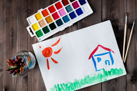 happy house: Happy house and bright sun. Drawing picture