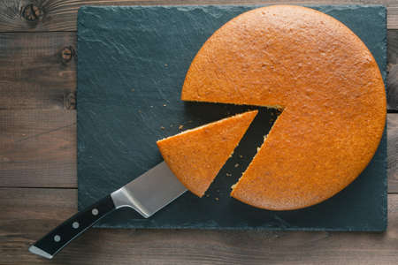 analytic pie chart concept. Cut small sector from manna pie 스톡 콘텐츠