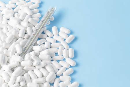 Pharmacy theme, white medicine tablets antibiotic pills
