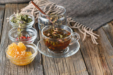 heathy: Organic hot tea as prevention of cold. Heathy against pills Stock Photo