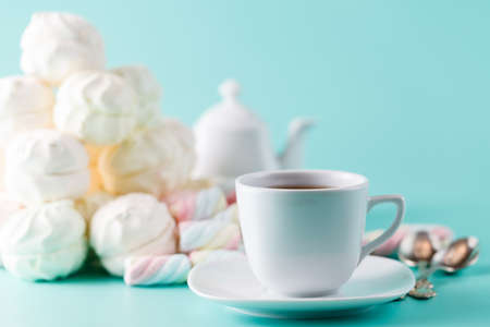 cofe: Cofe cup and pile sweet pastel colored marshmallow