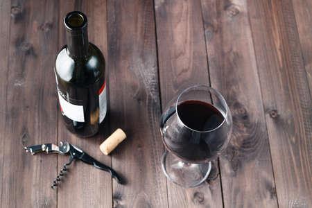 redwine: Wine bottle with glass