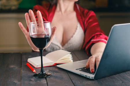 refused: woman refused a glass of wine