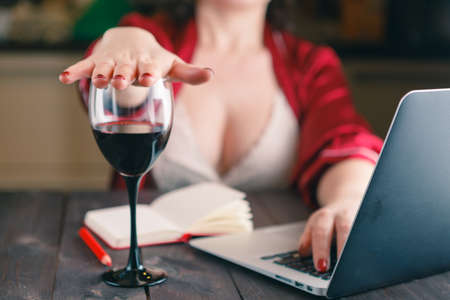 sober: woman refused a glass of wine