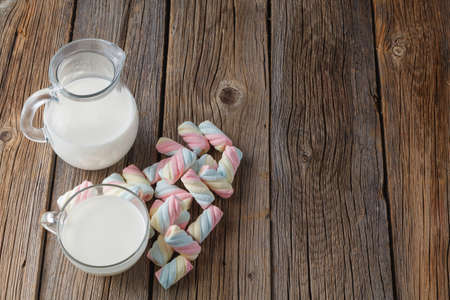 marshmallow: Twisted colored marshmallow with milk Stock Photo