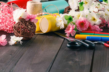 artistic background: Woman creative handmade workplace. Close-up view of tools Stock Photo