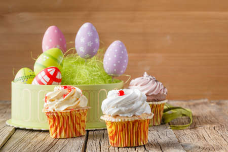 treats: Easter treats, colorful cupcakes and eggs