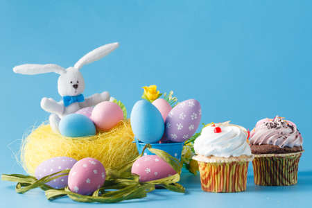 Easter decoration with eggs and sweets