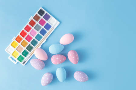 bridget calip: Hand Painted Easter Eggs in Pastel Colors Stock Photo