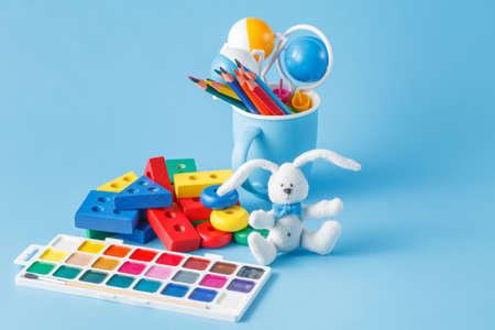 children toys for learning for skills on blue