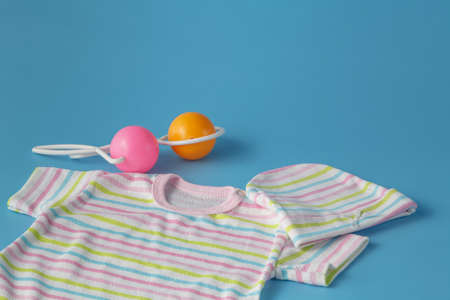 teat: Baby Products on Blue Background
