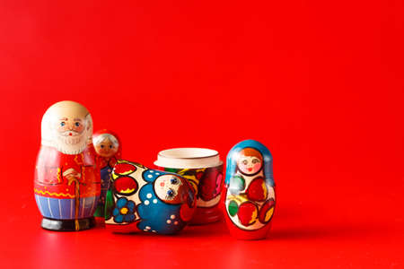 russian nesting dolls: Colorful Russian Nesting Dolls Matreshka Babushka Are Most Popular Souvenir From Russia