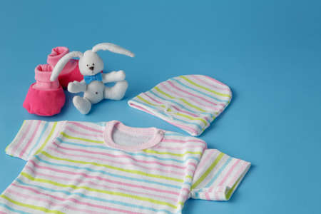 giftware: Baby Products on Blue Background