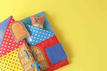 i love u: Handmade toy bears on yellow background