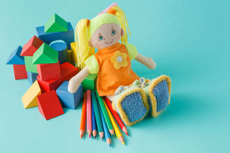 artists dummies: Creative kid play concept. Doll with colored pencils