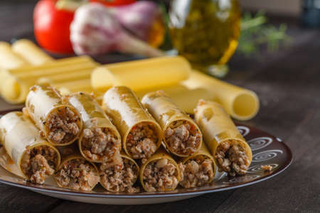 mediterranean cuisine: mediterranean cuisine. ingredients for making italian cannelloni Stock Photo