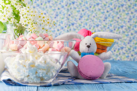frence: Glass of milk with Tasty macaroon and rabbit doll Stock Photo