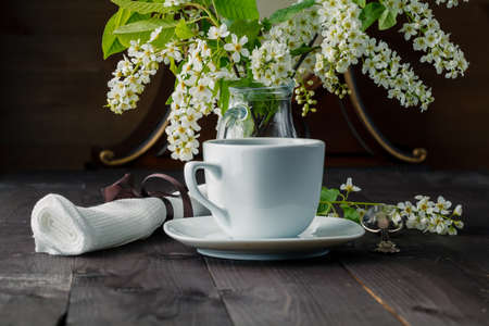birds on branch: branches of blooming bird cherry tree and coffee cup