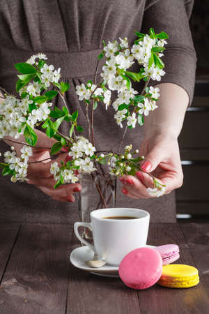 subtlety: Spring breakfast concept. Macaroon and coffee on table with cherry flowers Stock Photo