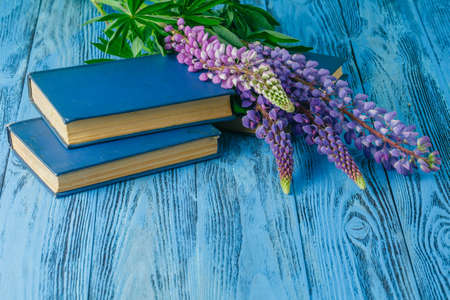 vacance: Books on summer garden table with flowers Stock Photo