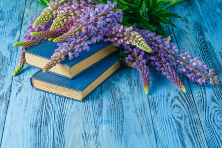 vacance: Books on summer garden table with lupine flowers