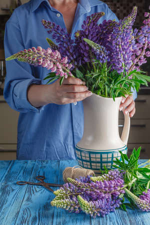 fulfilling: Womans hands tying together a bouquet of lupines Stock Photo