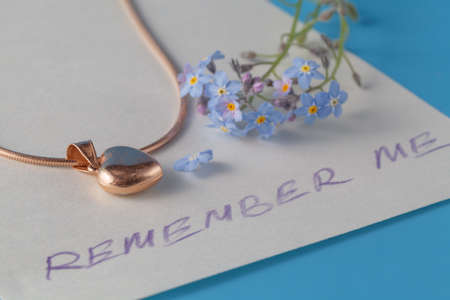 forget me not: Message remember me with flowers of forget me not
