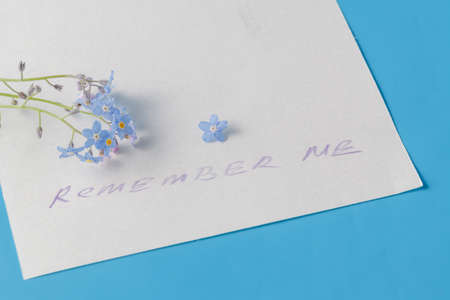 Mention: blue flowers ( forget-me-not) on paper with message