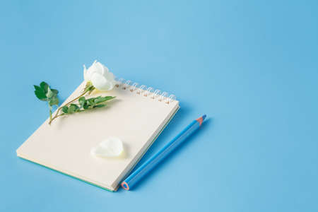 spacial: White rose flower are on the notebook Stock Photo