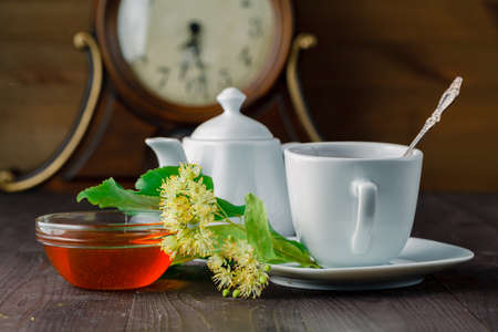 linden blossom: Evening herbal tea cup for health with Linden blossom