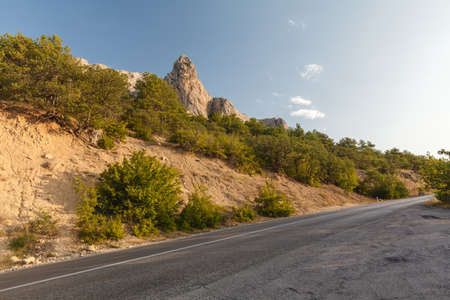 balea: high altitude asphalt road in mountain Stock Photo