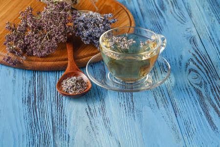 Herbal infusione tea.Lavender in una tazza di vetro. Lavandula officinalis. Naturopatia