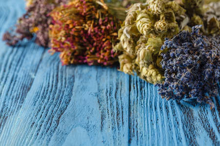 potpourri: Dried flower petals: scented lavender, heather and larkspur. Copy space. Stock Photo