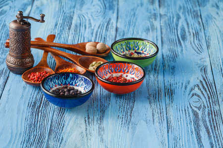 spices with ingredients on blue background. asian food, healthy or cooking concept