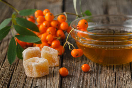 sorb: Fall concept. Rowan berries on wooden table with honey