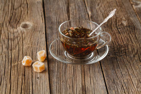 tea hot drink: Autumt hot drink concept. Herbal tea on rustic wooden table Stock Photo