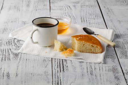 semolina: Semolina cake on a cutting board. Mannik