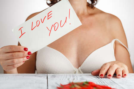 foul: woman with a foul love you Stock Photo