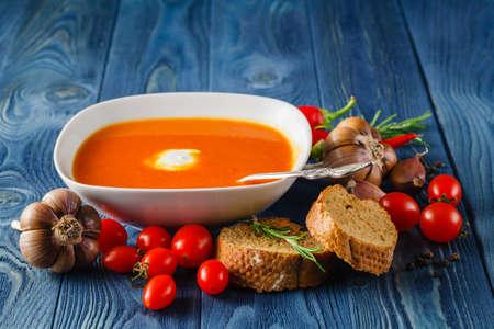 gazpacho: Tomato gazpacho soup with pepper and garlic