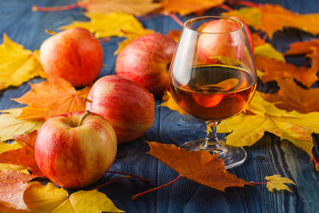 serves: glasses of cognac on table. It serves fruit brandy. Stock Photo