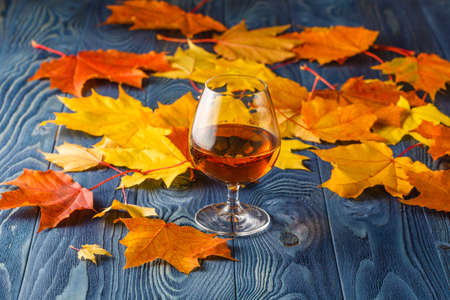 autumn leafs: Alcohol drink and autumn leafs