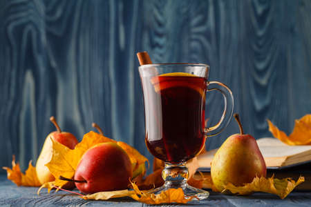 Mulled wine traditional hot spiced alcohol winter season beverage with cinnamon, orange, anise and other spices. Thanksgiving holiday celebration recipe Stock Photo