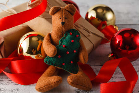 bear s: Christmas concept - bear  with Christmas decoration and gifts Stock Photo