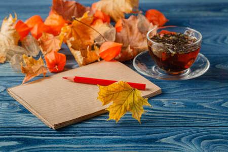 nostalgy: Autumn nostalgy notes on blue background table Stock Photo