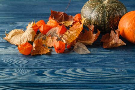 're: Fall leaf on blue wooden backgound, seasonal concept
