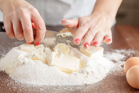 Baking ingredients for shortcrust pastry, close up Stock Photo